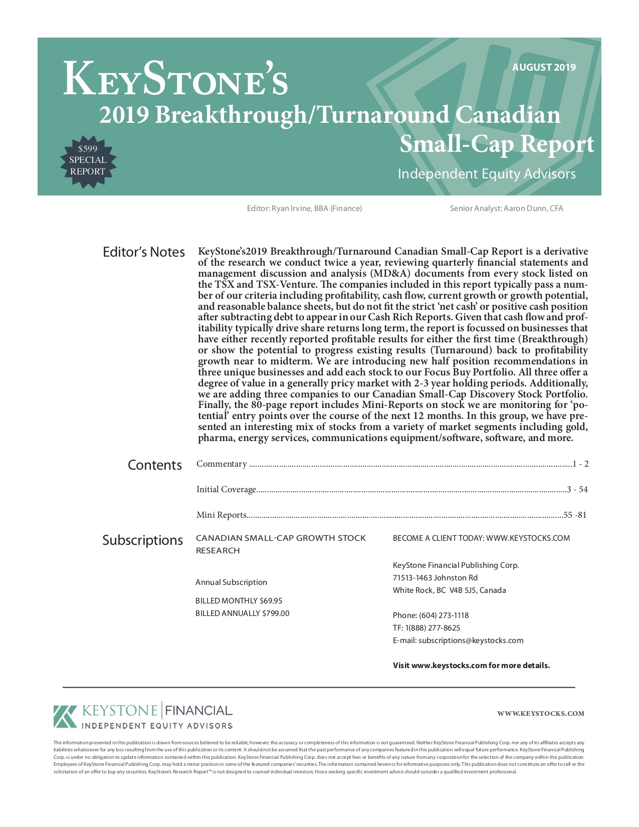 KeyStone's 2019 Breakthrough/Turnaround Canadian Small-Cap ...